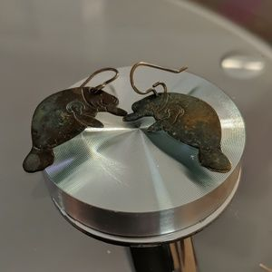 Oxidized Bronze Manatee Earrings quirky cute gift